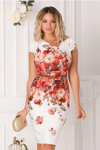 Rochie Carina alba cu imprimeu floral caramiziu