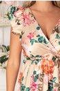 Rochie Carina lunga bej cu trandafiri orange