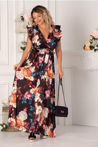 Rochie Carina lunga neagra cu trandafiri