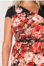 Rochie Carina neagra cu imprimeu floral caramiziu