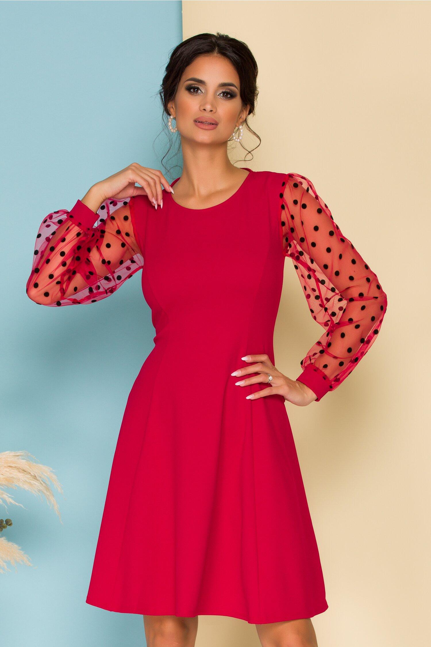 Rochie Carina rosie cu maneci din tull cu buline catifelate