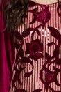 Rochie Carla din catifea bordo cu broderie florala si paiete pe fata