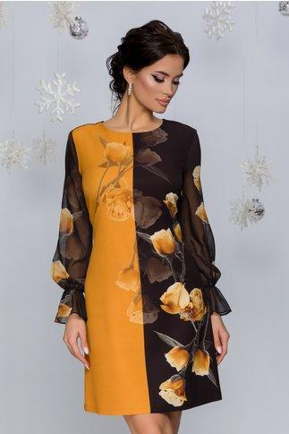 Rochie Carla galben mustar cu negru si imprimeu floral in degrade