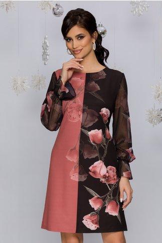 Rochie Carla roz prafuit cu negru si imprimeu floral in degrade