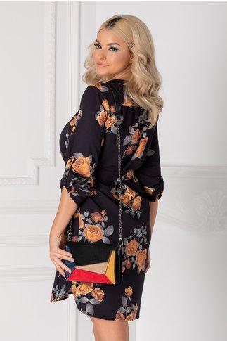 Rochie Carla tip camasa neagra cu trandafiri galbeni