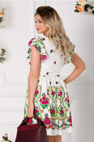 Rochie Carmen ivoire cu imprimeu floral