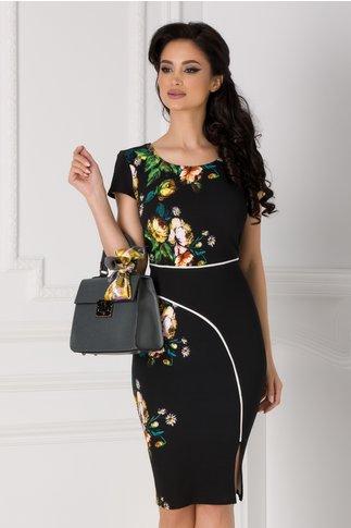 Rochie Carmen neagra cu imprimeu floral si dunga alba