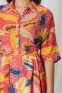 Rochie Carmina corai cu imprimeuri galbene