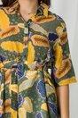Rochie Carmina kaki cu imprimeuri galbene