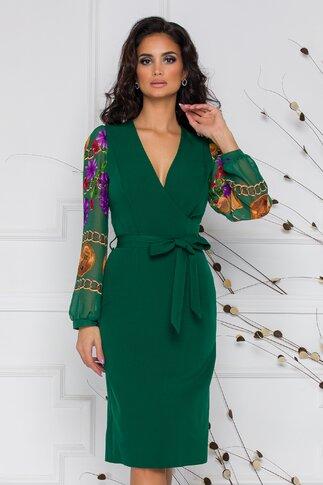Rochie Carmina verde cu manecile din voal imprimat