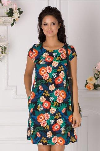 Rochie Carmy neagra cu imprimeu floral colorat
