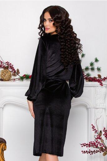 Rochie Carol neagra din catifea cu decolteu petrecut