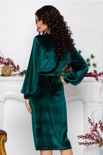 Rochie Carol verde din catifea cu decolteu petrecut