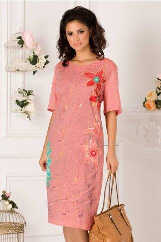 Rochie Carolina roz cu imprimeuri florale maxi