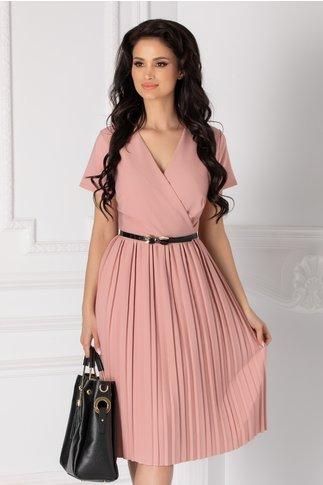 Rochie Carolina roz prafuit cu fusta plisata