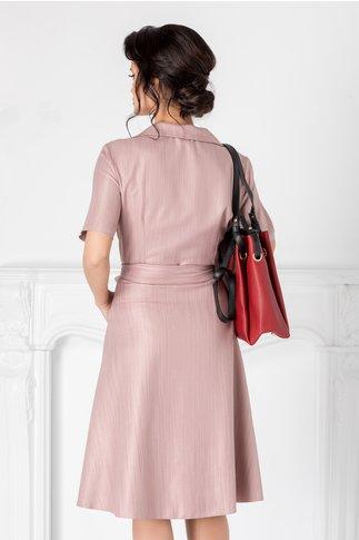 Rochie Carolina roz pudrat cu fir stralucitor