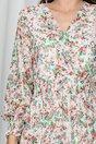 Rochie Caroline alba cu imprimeu floral si volane