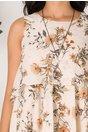 Rochie Caroline bej vaporoasa cu imprimeu floral
