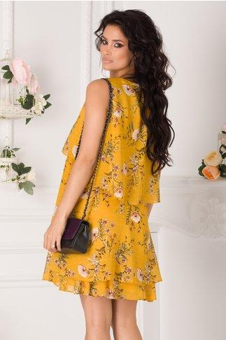 Rochie Caroline galben mustar vaporoasa cu imprimeu floral