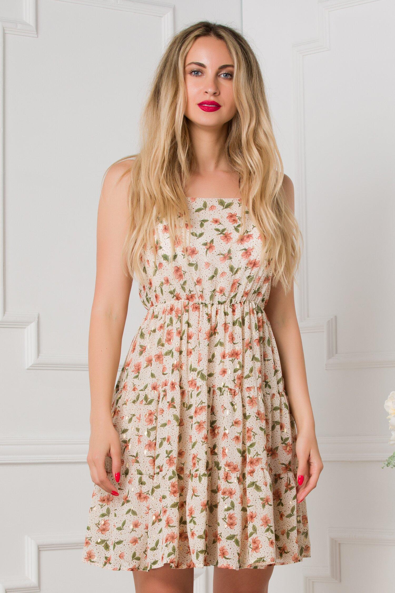 rochie caroline ivory cu imprimeuri florale caramizii 533223 4