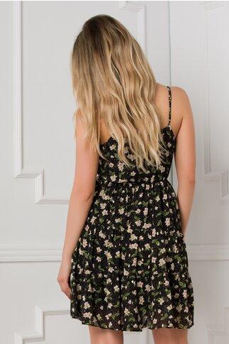 Rochie Caroline neagra cu imprimeuri florale
