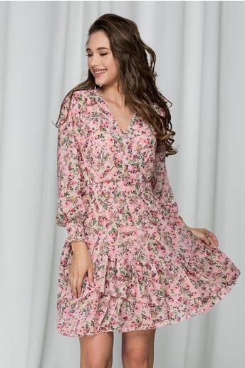 Rochie Caroline roz cu imprimeu floral si volane