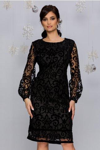 Rochie Carrye neagra cu detalii catifelate