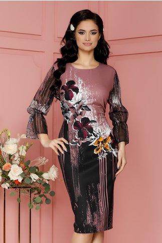 Rochie Casandra lila prafuit cu flori colorate si strasuri