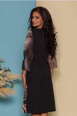 Rochie Casandra neagra cu animal print si trandafir rosu