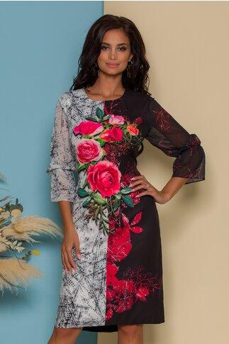 Rochie Casandra neagra cu trandafiri rosii si strasuri