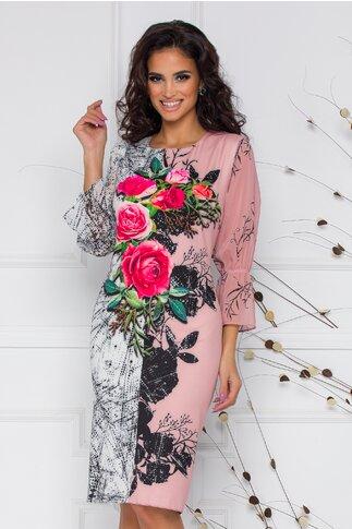 Rochie Casandra roz cu trandafiri fucsia si strasuri