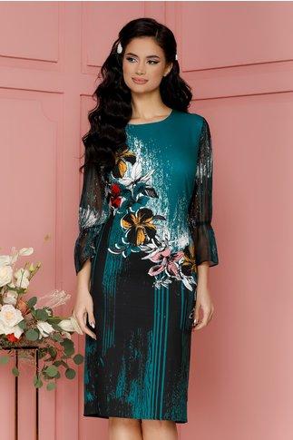 Rochie Casandra turcoaz cu flori colorate si strasuri