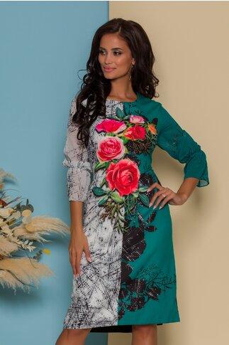 Rochie Casandra verde cu imprimeuri florale si strasuri