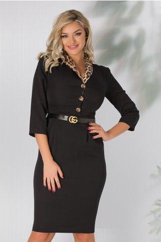 Rochie Casia neagra cu guler animal print