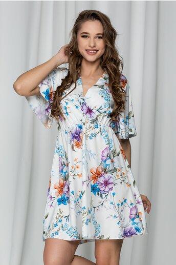Rochie Casie alba vaporoasa cu imprimeuri florale si decolteu petrecut
