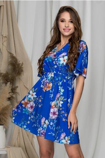 Rochie Casie albastra vaporoasa cu imprimeuri florale si decolteu petrecut
