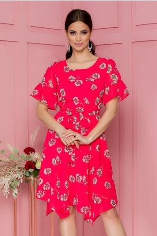 Rochie Cassie rosie clos cu imprimeuri florale bej