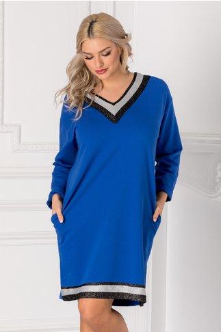 Rochie casual albastra cu benzi la decolteu