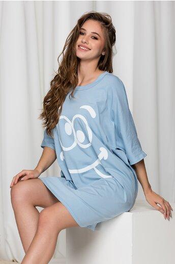 Rochie casual Smile bleu cu imprimeu
