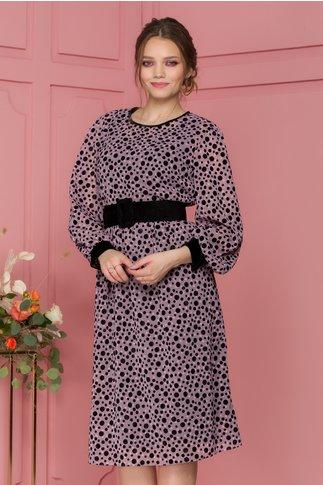 Rochie Catalina lila cu buline negre catifelate si curea in talie
