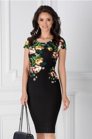 Rochie Catalina neagra cu imprimeuri florale la bust