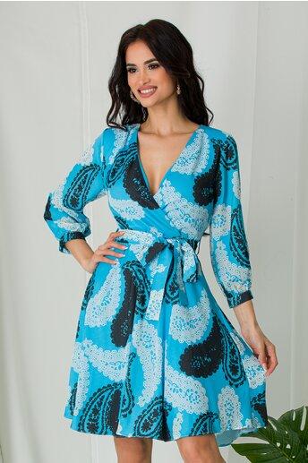 Rochie Cati bleu cu imprimeuri diverse