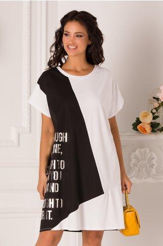 Rochie Caty tip tricou alb-negru cu mesaj