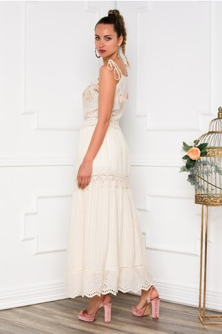 Rochie Cecilia beige lunga accesorizata cu broderie si margelute