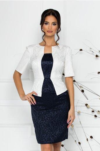 Rochie Cecille din brocard bleumarin cu alb
