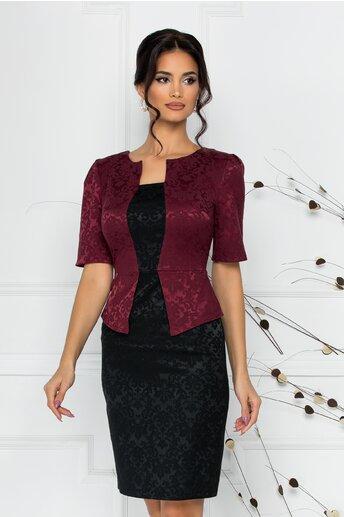 Rochie Cecille din brocard negru cu bordo