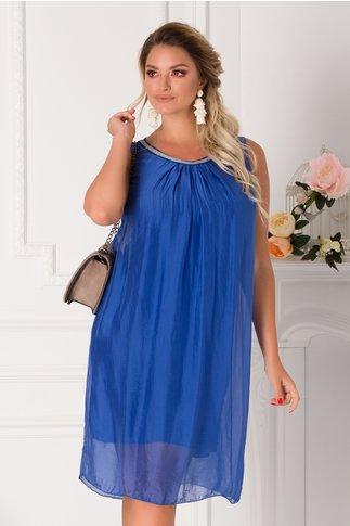 Rochie Celia albastra cu aplicatii la guler