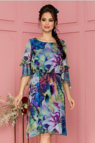 Rochie Celia multicolora in degrade cu imprimeuri florale si volanase la maneci
