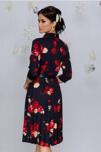 Rochie Celinda bleumarin cu imprimeu floral in nuante de rosu si auriu