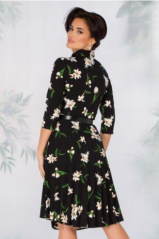 Rochie Celinda neagra cu imprimeu floral beige